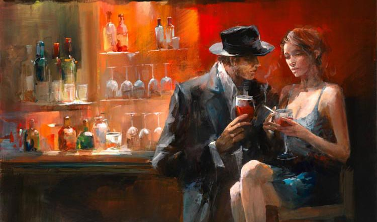 Instaurer de la tension sexuelle: un homme et une femme assis au comptoir, dans un bar.