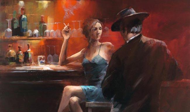 Un homme et une femme assis au comptoir, le meilleur endroit pour instaurer de la tension sexuelle.