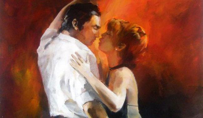 Désir sexuel: un homme et une femme qui s'embrassent